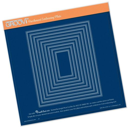 Clarity Stamps - Nested Rectangles Picot Cut A4 Square Groovi Plate